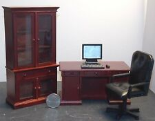 Dollhouse Miniature Office Executive Desk Set Mahogany 1:12  one inch scale  F0