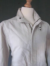 "ARMANI JACKET COAT (M-40"") ECRU COTTON STRAP-COLLAR ZIP-FRONT STUD-CUFFS Excelle"