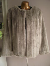 MONSOON LUXURY GREY/MINK FAUX FUR 20's GATSBY JACKET MATCHES DRESS LARGE 16-18