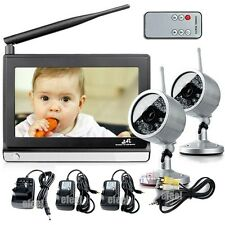 """2.4GHz Wireless 7"""" TFT LCD Video Baby Monitor Night Vision With Remote 2 Camera"""
