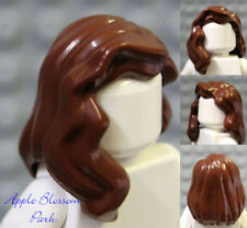 NEW Lego Girl Minifig Long BROWN HAIR -Female Minifigure Over Shoulder Wavy Hair