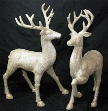 "Reindeer Deer Statue Figurine 13"" Raz Imports New Set of 2 Gold Silver Christmas"