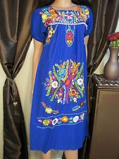 Vtg 60s 70s Embroidered OAXACAN Peasant Hippie Festival Maxi Tent Dress S M