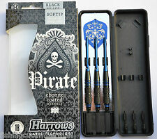 HARROWS PIRATE EBONITE COATED BLUE RINGED BRASS SOFT TIP DARTS 18g