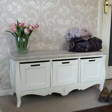 Cream painted vintage 3 drawer storage bench shabby vintage chic furniture home