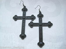 *HUGE ORNATE BLACK CROSS* Gothic Earrings Dita Madonna HALLOWEEN FANCY DRESS
