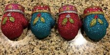 S/4 PINK TURQUOISE Glittered Mittens TREE XMAS DECOR ORNAMENT CANDY WREATH SWAG