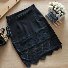 Sexy Lace Skirt Stretch Office Black Pencil Skirts Mini Women Slim Bodycon Skirt