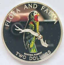 Bahamas 1995 Amazon Parrot 2 Dollars Colour Silver Coin,Proof