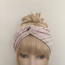 Fawn blanche à rayures roses turban twist yoga workout fitness cheveux band lycra boho