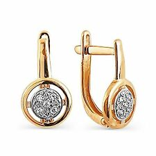 585 Russian Rose Red Gold 14ct Hoop Huggie Cluster Earrings Gift Boxed