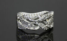 Size 8 Solid Sterling Silver Cubic Zirconia Designer Dress Ring Band for Ladies