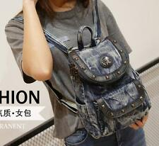 016 womens punk rock rivet denim Backpack Rucksack travel Shoulder messenger Bag