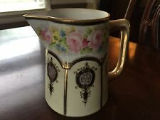 Vintage Nippon hand painted pitcher flowers and gold paint, M in the wreath