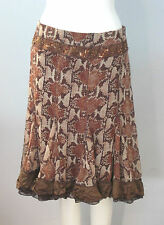 DEBBIE SHUCHAT for Melanie Lynn Size 2 Brown 100% Silk Women's Skirt