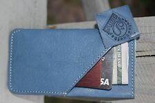 SKY BLUE Genuine LEATHER HAND MADE Case APPLE iphone 5 5s 5c Wallet Cover Pouch