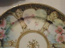 IC Nippon Hand Painted Moriage Plate Gold w Pastel Pink Blue Roses 8.5""