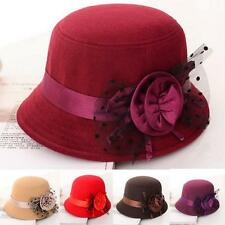 Retro Vintage Womens Wide Brim Felt Fedora Floppy Bowler Cloche Hat Bucket Cap