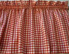 Red and White Check Valance Curtain Country or Prim Window Decor