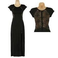 IMMACULATE FULL LENGTH LACEY DETAIL SLINKY BODYCON GOING OUT, PARTY DRESS SIZE S