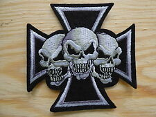 ECUSSON PATCH THERMOCOLLANT 3 CRANES tete mort skull biker metal death 9x9cm