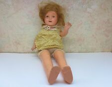 """Vintage Composition & Cloth Doll Unmarked 19"""" Blinky Eyes Teeth Bobby Pin Bonnet"""