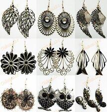 2014 New 8pairs Gold Black Fashion Women Drop Earrings Wholesale Jewelry Lots
