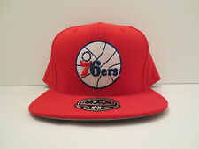 MITCHELL & NESS NBA PHILADELPHIA 76ERS TEAM SOLID FITTED CAP HAT SIZE 7 7/8 RED