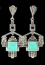 STUNNING ART DECO STYLE TURQUOISE MARCASITE EARRINGS 925 STERLING SILVER