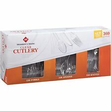 360 pc. Clear Heavy Weight Combo Cutlery Pack - Plastic - Forks, Knives, Spoons
