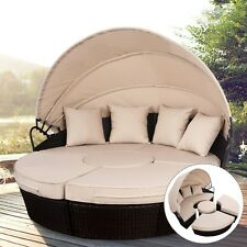 Outdoor Rattan Patio Sofa Sun Bed Furniture Set Retractable Canopy Daybed Round