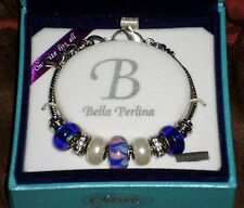 NEW Perlina Classic Charm Bracelet Deep Blue White Silver Beads Chain Ret $95