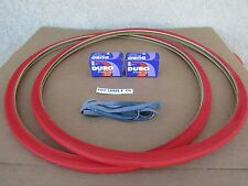 [2] NEW  700 X 25 C  BICYCLE RED TIRES  [2] TUBES & [2] LINERS ROAD, FIXIE BIKES