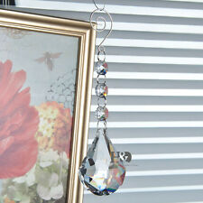 Hanging Clear Suncatcher Sector Cut Crystal Rainbow Prism Feng Shui Pendant 63mm