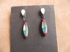 Turquoise, Coral & Mother of Pearl Inlay dangle Earrings Zuni