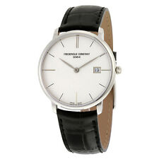 Frederique Constant Slimline Silver Dial Black Leather Mens Watch FC-220S5S6