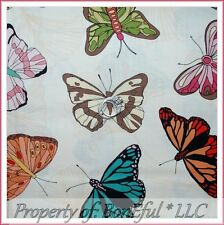 BonEful Fabric FQ Cotton Quilt VTG Natural Cream Pink Aqua Brown Large Butterfly