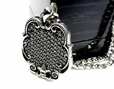 Custom Fleur De Li Dog Tag Style Pendant With Black Daimonds by Sacred Angels