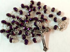 Purple Crystal Beads Rosary Catholic Necklace Holy Soil Medal & Cross