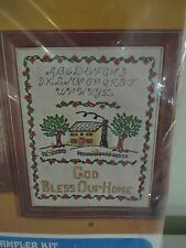 "VINTAGE CREWEL CREATIVE STITCHERY ""GOD BLESS OUR HOME"" NEEDLECRAFT SAMPLER KIT"