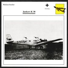 Germany Junkers K 30 Medium Bomber Warplane Aviation Card - I Combine S/H