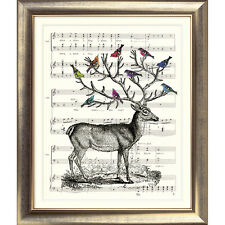 ART PRINT ORIGINAL VINTAGE MUSIC SHEET Page STAG DEER BIRDS BOOK ART Shabby Chic