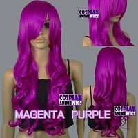 80cm Magenta Purple Heat Styleable Curly Long Cosplay Wigs 967_PTH