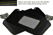 YELLOW STITCHING FITS SUBARU LEGACY 2003-2009 2X SUN VISORS LEATHER COVERS ONLY