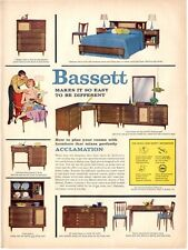 1958 Bassett Furniture Great Detailed Vintage Decor PRINT AD
