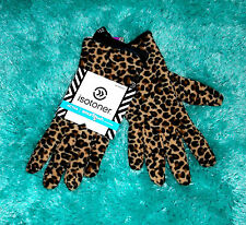 TAN BLACK LEOPARD ISOTONER TEXTING LUXE FUR LINING WINTER SMART GLOVES O/S NWT