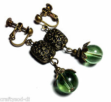 Green Bronze Clip-On Earrings Long Drop Dangle Antique Vintage Style