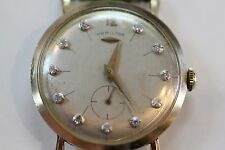 VINTAGE HAMILTON WATCH 1950'S DIAMOND DIAL 14KT MEN'S WATCH THIN