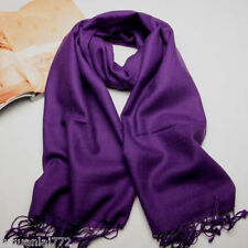 New Women's Purple 100% Cashmere Solid Warm Long Scarf Shawl Wrap  FREE SHIP