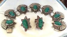 Vintage Mexico Sterling Silver & Carved Masks Bracelet & Earrings